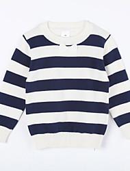 preiswerte -Pullover & Cardigan Alltag Gestreift Baumwolle Herbst Blau