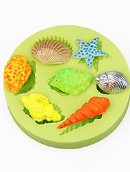 Sea Shells Summer Beach CupCake Decoration Silicone Fondant Mold Sugarcraft Tools Polymer Clay Chocolate Color Random