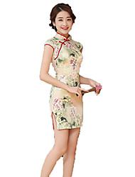 cheap -One-Piece Short Sleeve Medium Length Beige Lolita Dress Polyester Cheongsam