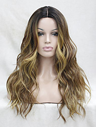 Synthetic Lace Front Wig Heat Ok Ombre Dark Brown Medium Aubrun /Strawberry Blonde Wavy Wig Small Edge Lace Front