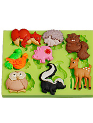 cheap -Jungle Animals Owl Squirrel Silicone Polymer Clay Mold Cake Decoration Tools Fimo Fondant Making Color Random