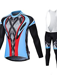 cheap -Malciklo Cycling Jersey with Bib Tights Men's Long Sleeves Bike Compression Clothing Tights Quick Dry Front Zipper Wearable High