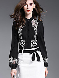cheap -Women's Sophisticated Lantern Sleeve Shirt - Embroidered, Pleated Mesh Shirt Collar