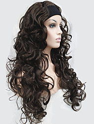 cheap -Half wig 3/4 wigs With Headband Long Curly Synthetic Hair Wig for Women