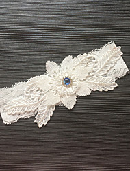 cheap -Garter Stretch Satin / Lace Flower / Rhinestone Ivory Wedding Accessories