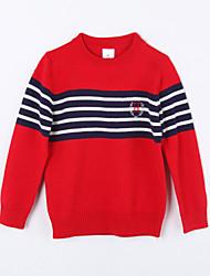 preiswerte -Mädchen Pullover & Cardigan-Lässig/Alltäglich Gestreift Baumwolle Herbst Rot