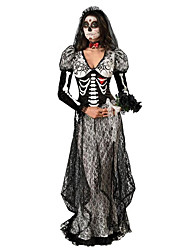 Ghostly Bride Cosplay Costume Party Costume Female Halloween Day of the Dead Festival / Holiday Halloween Costumes Black Print