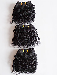cheap -Brazilian Hair Curly / Body Wave Virgin Human Hair Natural Color Hair Weaves 3 Bundles Human Hair Weaves Natural Black Human Hair Extensions