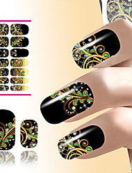 cheap -flower nail art sticker water decals resin black dream peacock feathers design for nails decorations manicure wraps