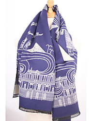 Women Wool Blend ScarfVintage / Work / Casual Rectangle / Infinity ScarfRed / Black / BlueJacquard
