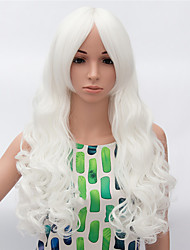 Fashion Long Curly Wig White Color Synthetic African American Women Wig