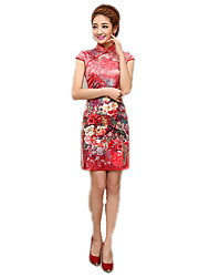 cheap -One-Piece Short Sleeve Medium Length Red Lolita Dress Polyester
