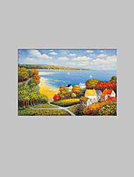 povoljno -Ručno oslikana Pejzaž Horizontalan, Europska Style Moderna Platno Hang oslikana uljanim bojama Početna Dekoracija Jedna ploha