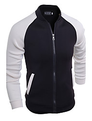 Men's Casual/Daily / Sports Simple / Active Jackets,Patchwork Stand Long Sleeve Fall / Winter Black Cotton Thick