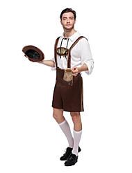 billige -Oktoberfest Karriere Kostumer Cosplay Kostumer Sexede Uniformer Flere Uniformer Jul Halloween Karneval Festival / Højtider Terylene Sort / Grøn / Brun Karneval Kostume Farveblok / Top / Hat