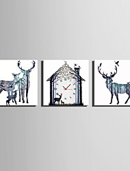 cheap -MINI SIZE E-HOME Fantastic Deer Clock in Canvas 3pcs