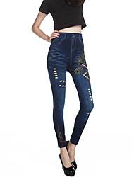 Damen Bedruckt Jeans Legging,Baumwolle