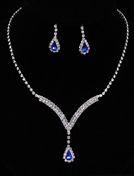 cheap -Women's AAA Cubic Zirconia / Synthetic Sapphire Jewelry Set - Cubic Zirconia Drop Fashion, Elegant Include Drop Earrings / Choker Necklace / Bridal Jewelry Sets Blue For Wedding / Anniversary / Party
