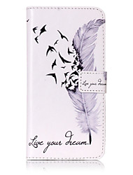 cheap -Case For Apple iPhone 6 iPhone 7 Plus iPhone 7 Card Holder Wallet with Stand Flip Pattern Embossed Full Body Cases Feathers Hard PU