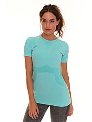 abordables -Mujer Cuello Barco Camiseta de running - Rosa Rojo, Verde, Gris Deportes Moda Licra Camiseta / Sudadera / Top Manga Corta Ropa de Deporte