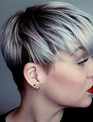 cheap -Women's Human Hair Capless Wigs Straight Side Part Dark Roots Pixie Cut With Bangs Short Silver