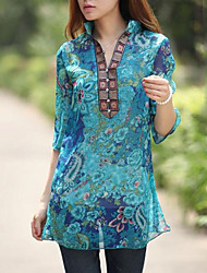 Women's Casual/Daily Boho Summer Blouse,Floral Stand Polyester Thin