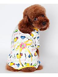 preiswerte -Hund Austattungen Pyjamas Hundekleidung Blume Gelb Blau Rosa Baumwolle Kostüm Für Haustiere Herrn warm halten