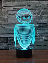 robot de contact gradation 3d conduit de lumière de nuit lampe atmosphère décoration 7colorful éclairage nouveauté lumière de Noël