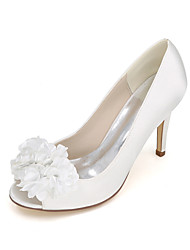 cheap -Women's Shoes Leatherette Spring Summer Heels Stiletto Heel Flower for Wedding Party & Evening Purple Red Blue Champagne Ivory