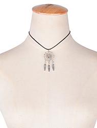 billige -Dame Kvast Kort halskæde / Halskædevedhæng - Fjer Tassel, Vintage, Mode Sølv Halskæder Til Bryllup, Fest, Daglig