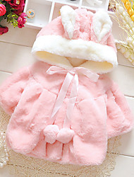 Girl's Daily Solid BlouseRabbit Fur Winter / Spring / Fall Pink / White