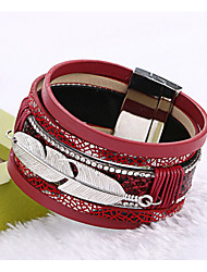 cheap -Men's / Women's Cuff Bracelet / Leather Bracelet - Tassel, Fashion Bracelet Red / Blue / Light Brown For Christmas Gifts / Wedding / Party