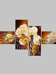 baratos -Pintura a Óleo Pintados à mão - Floral / Botânico Clássico Modern 4 Painéis