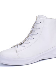 Masculino-Botas-Conforto-Rasteiro-Preto Branco-Couro Ecológico-Casual