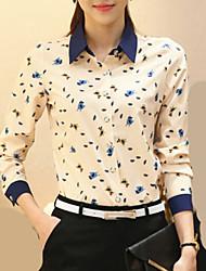 Women's Shirt Collar Wild Animal Print Stitching Long Sleeve Shirt
