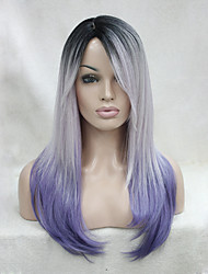 cheap -quality heat resistant black root with white and purple mix three tone ombre long straight wig