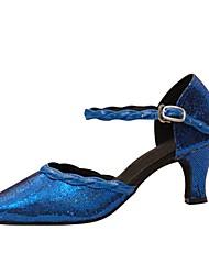 Damer Latin Moderne Paillette Sandaler Hæle Professionel Indendørs Pailletter Spænde Personligt tilpassede hæle Blå Personligt tilpasset