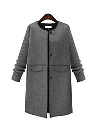 Manteau Aux femmes,Couleur Pleine Décontracté / Quotidien / Grandes Tailles Chic de Rue Manches Longues Col Arrondi Gris Coton Moyen