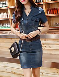 cheap -Women's Blue Denim Dress , Casual Short Sleeve