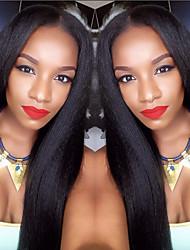 Недорогие -Натуральные волосы Лента спереди Парик стиль Бразильские волосы Прямой Яки Парик 130% Плотность волос с детскими волосами Природные волосы Парик в афро-американском стиле 100% ручная работа Жен.
