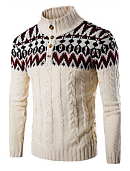 cheap -Men's Daily Sports Regular Pullover,Color Block Long Sleeves Cotton Winter Fall