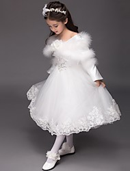 cheap -Ball Gown Tea Length Flower Girl Dress - Satin Tulle Long Sleeves Bateau Neck with Sequin Appliques Flower by LAN TING Express