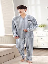Miesten Puuvilla Pyjaman-, Miesten