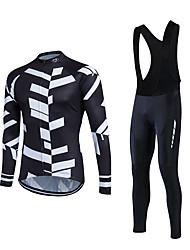 abordables -Fastcute Maillot et Cuissard Long à Bretelles de Cyclisme Homme Manches Longues Vélo Ensemble de Vêtements Garder au chaud Pare-vent