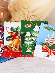 cheap -10Pcs Christmas Tree Ornaments Greeting Card Card Wish Card 6*5.5Cm Design Is Random