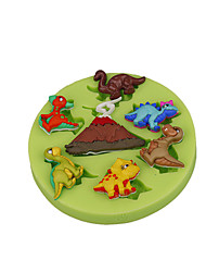 cheap -Volcano Dinosaur Silicone Mould Fondant Cup Cake Decoration Sugarcraft Tools Polymer Clay Fimo Color Random