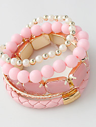 cheap -Strand Bracelets Alloy / Leather / Acrylic Circle Crossover / Punk Style / Rock Daily / Casual Jewelry GiftLight Pink /