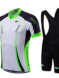 cheap -Fastcute Men's Short Sleeves Cycling Jersey with Bib Shorts - Light Green Bike Bib Tights Jersey Clothing Suits, Quick Dry, Breathable
