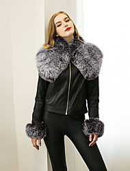Women's  Vintage Spring / Fall Jackets Solid Round Neck Long Sleeve Black Faux Fur / PU Medium