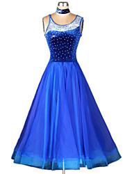 cheap -Ballroom Dance Dresses Women's Performance Polyester Spandex Crystals/Rhinestones Dress Neckwear